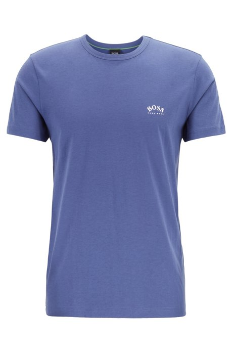 Cotton jersey T-shirt with curved logo, Purple