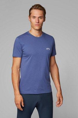 T-shirt en jersey de coton à logo incurvé, Lilas
