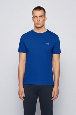 Cotton jersey T-shirt with curved logo, Blue