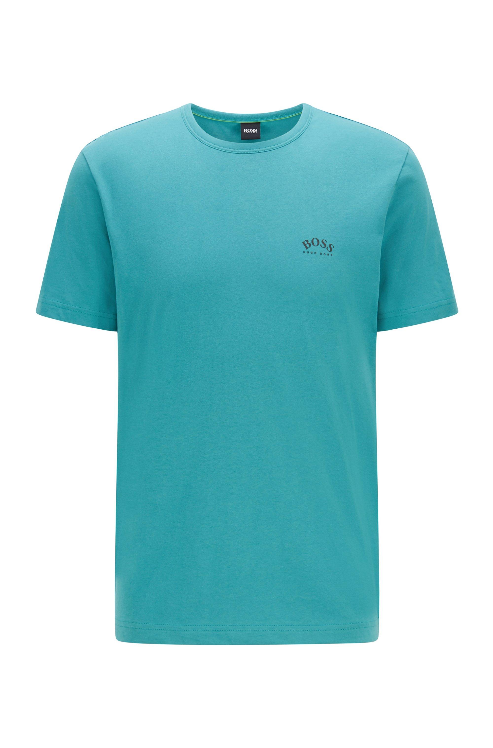 T-shirt en jersey de coton à logo incurvé, Turquoise