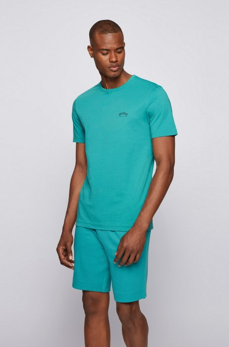Cotton jersey T-shirt with curved logo, Turquoise