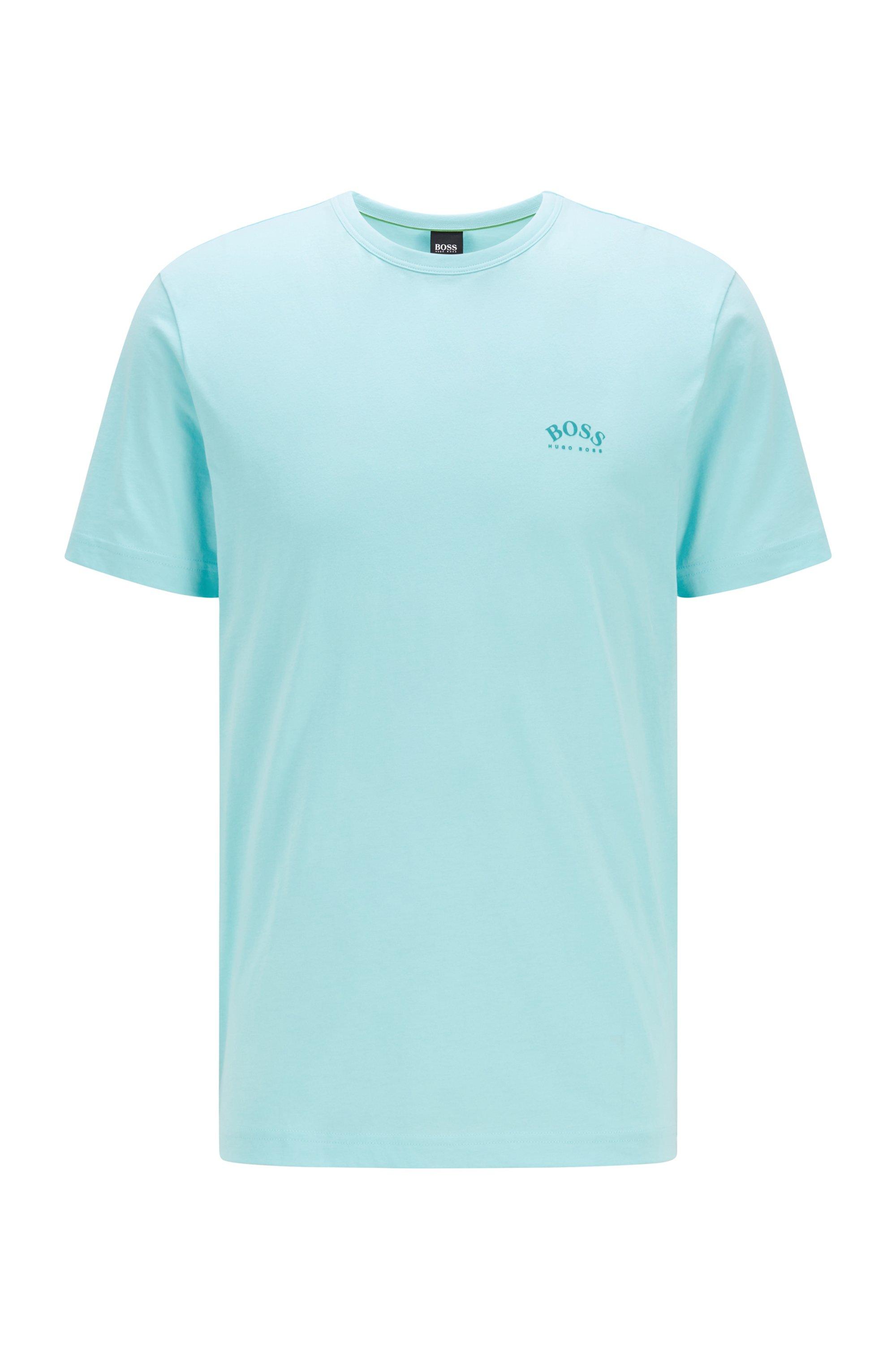 T-shirt en jersey de coton à logo incurvé, bleu clair