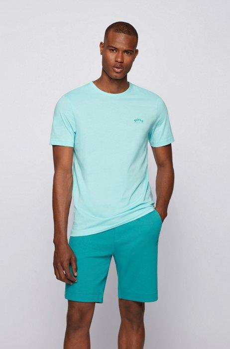 T-shirt van katoenen jersey met gebogen logo, Lichtblauw