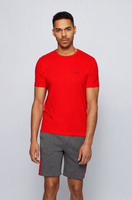 Cotton jersey T-shirt with curved logo, Red