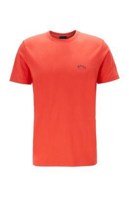 T-shirt van katoenen jersey met gebogen logo, Rood