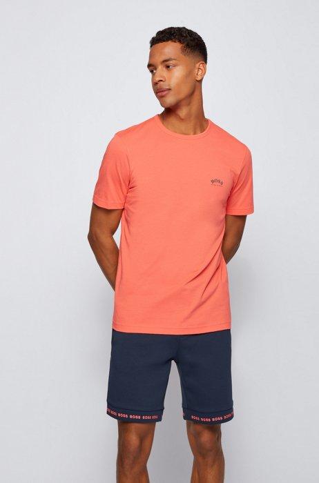 T-shirt en jersey de coton à logo incurvé, Rouge clair