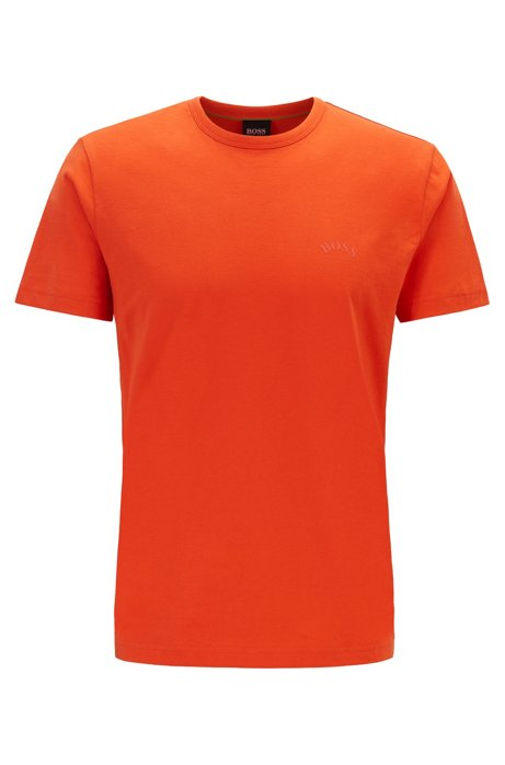 Cotton jersey T-shirt with curved logo, Orange