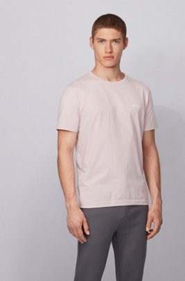 Cotton jersey T-shirt with curved logo, light pink