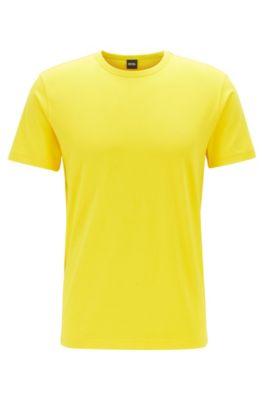Camiseta de punto de algodón con logo curvado, Amarillo