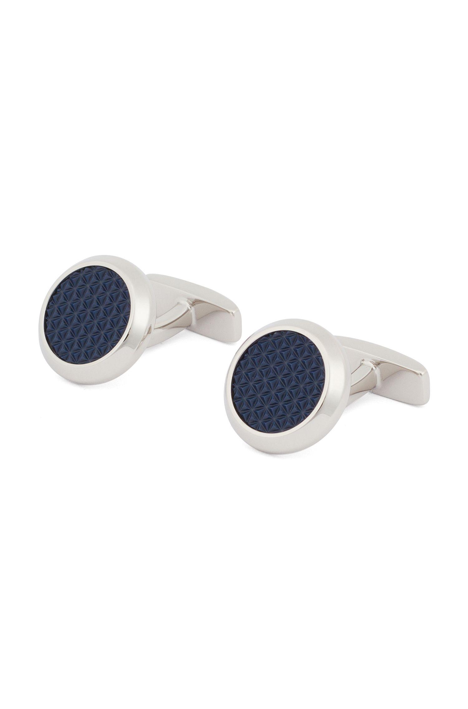 Runde Manschettenknöpfe aus handpoliertem Messing mit strukturiertem Emaille-Einsatz, Dunkelblau