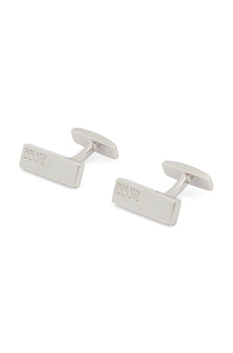 Hand-polished rectangular cufflinks with logo engraving, Silver