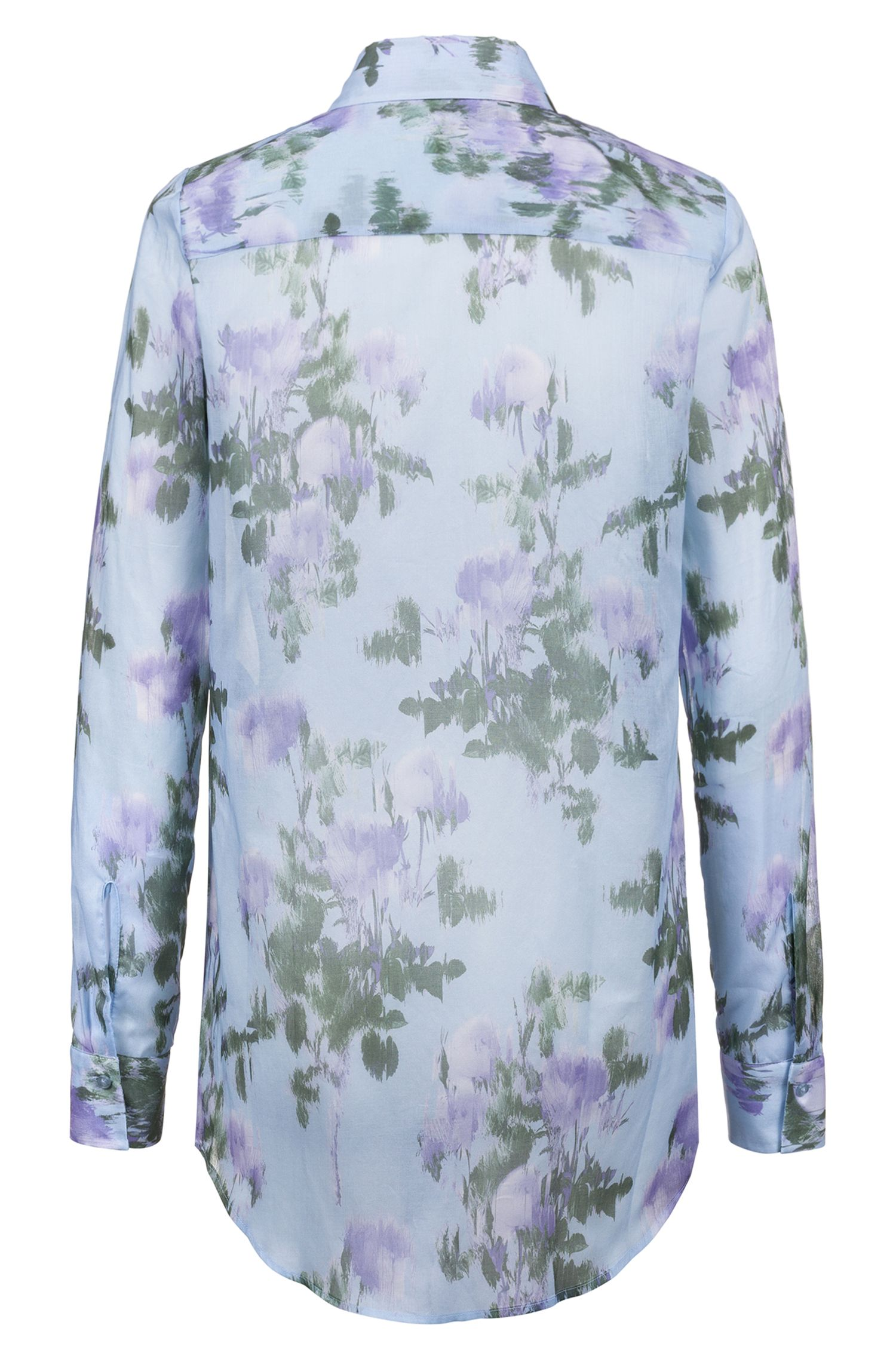 Long-sleeved blouse in cotton voile with floral print, Patterned