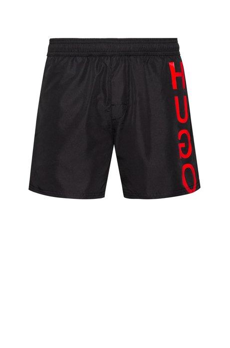 Quick-dry swim shorts with reverse logo, Black