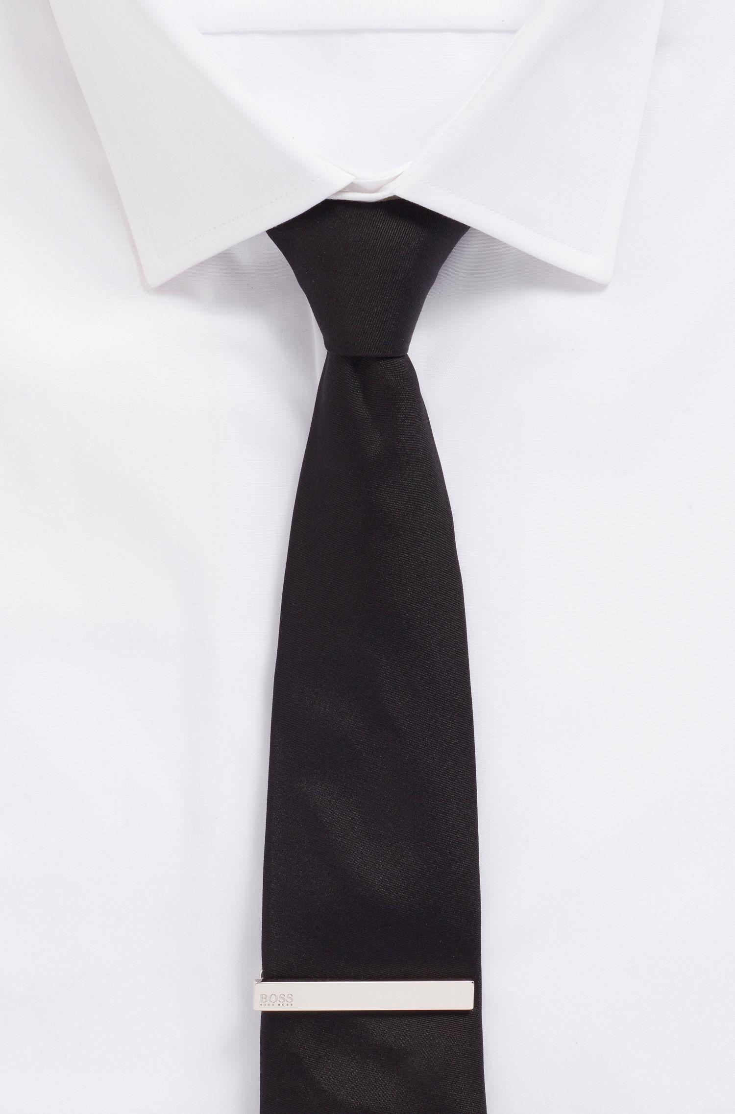 Handpolierte Krawattennadel mit Logo-Gravur, Silber