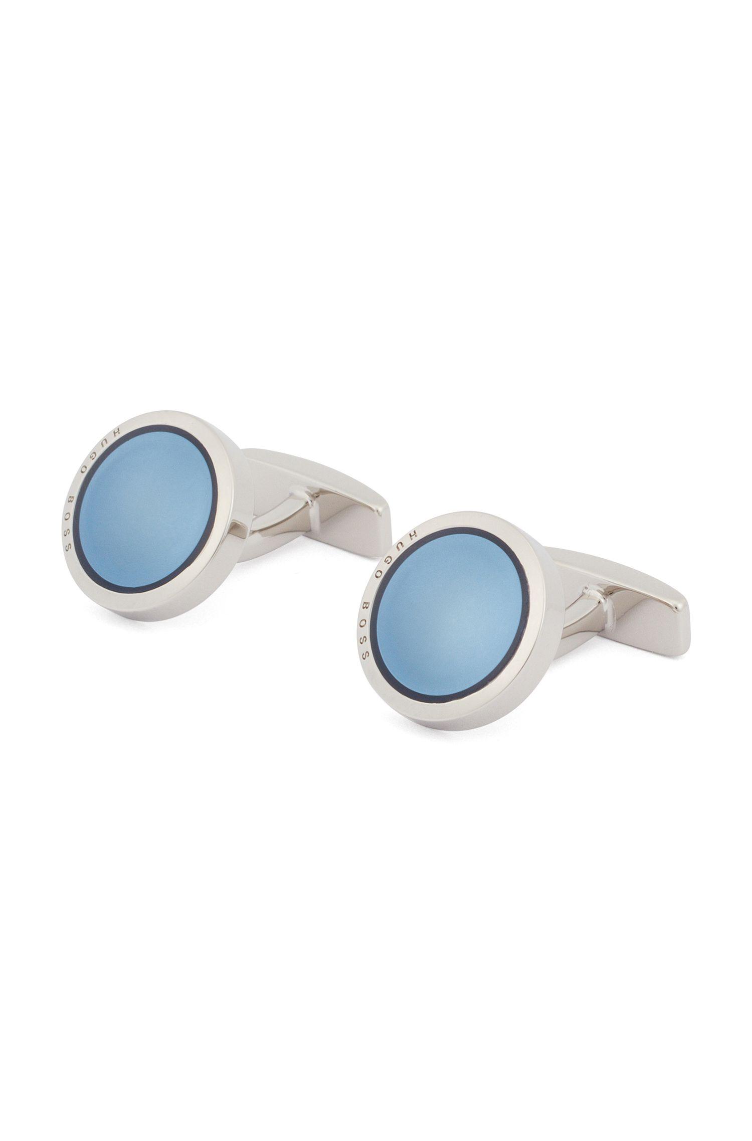 Runde Manschettenknöpfe aus handpoliertem Messing mit Emaille-Einsatz, Blau