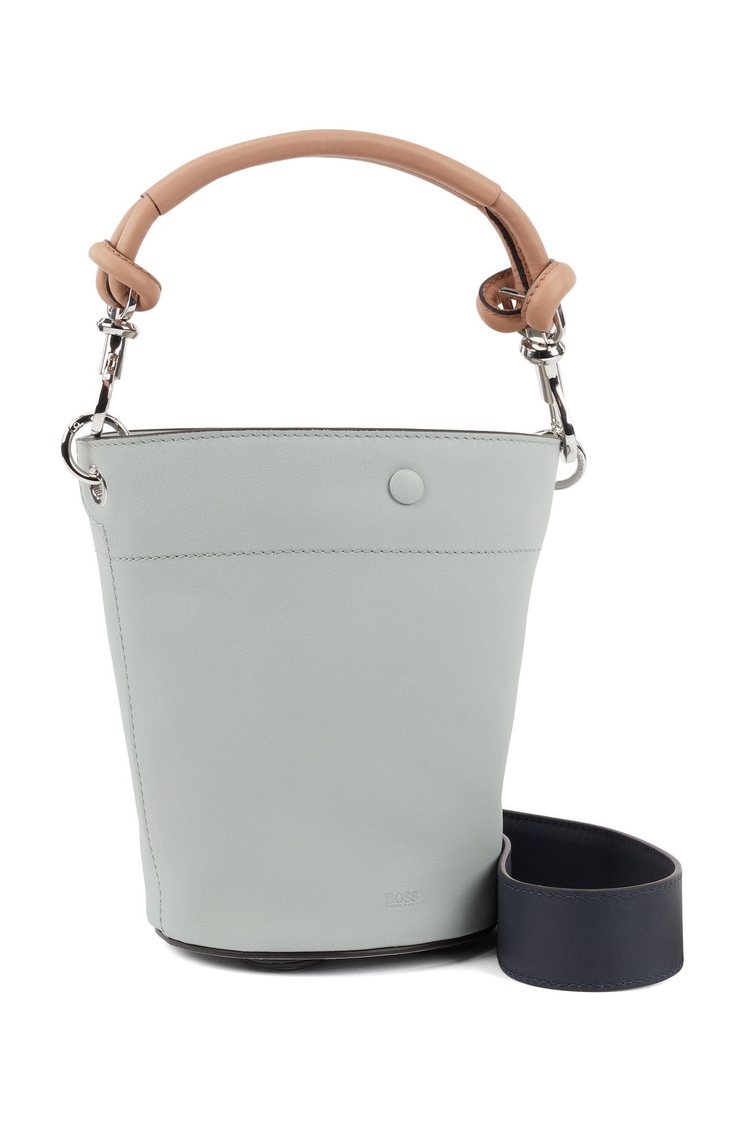 Small bucket bag in calf leather with knotted strap, Celeste