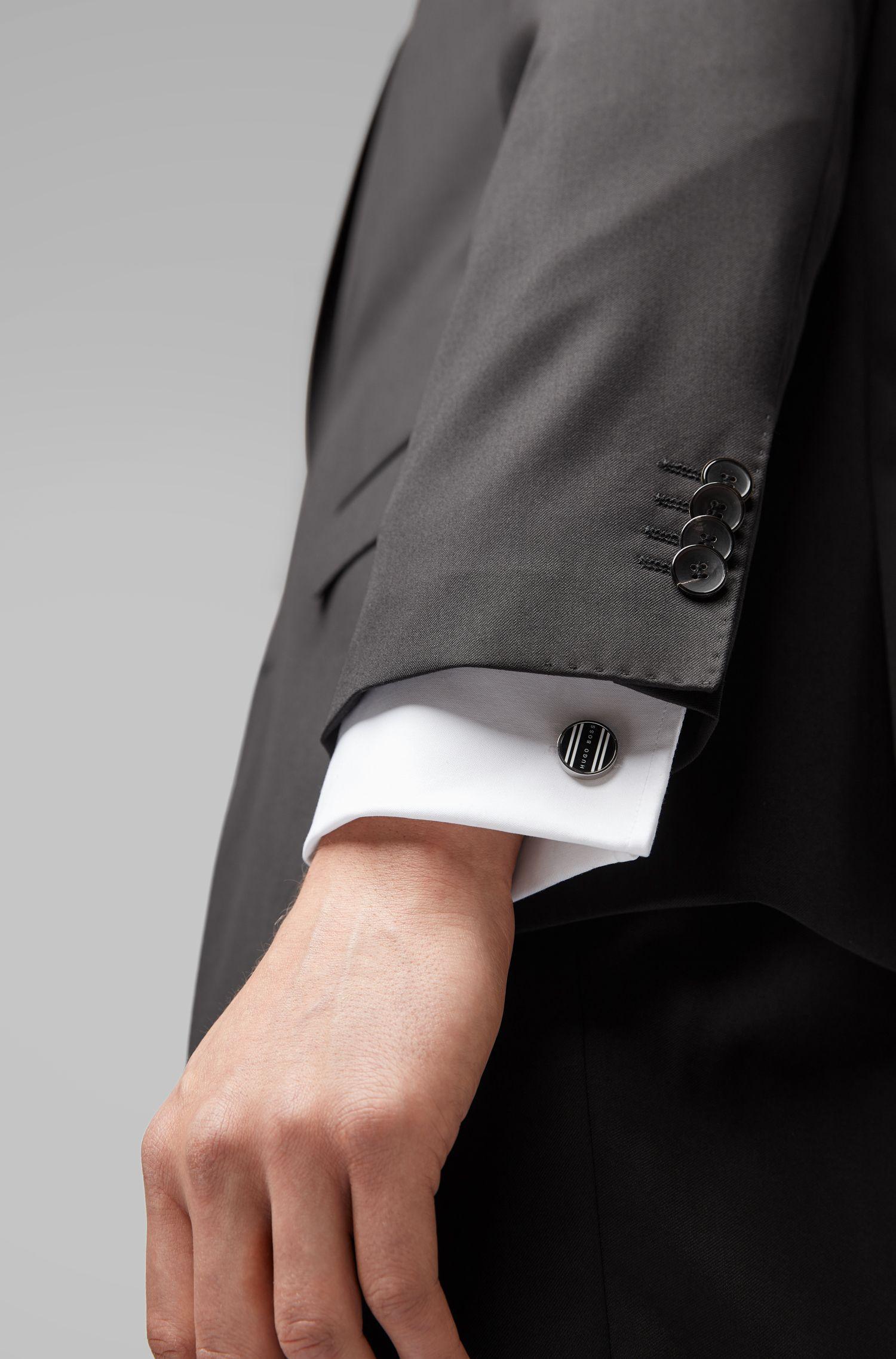 Boutons de manchette ronds polis à la main, à rayures et logo, Noir