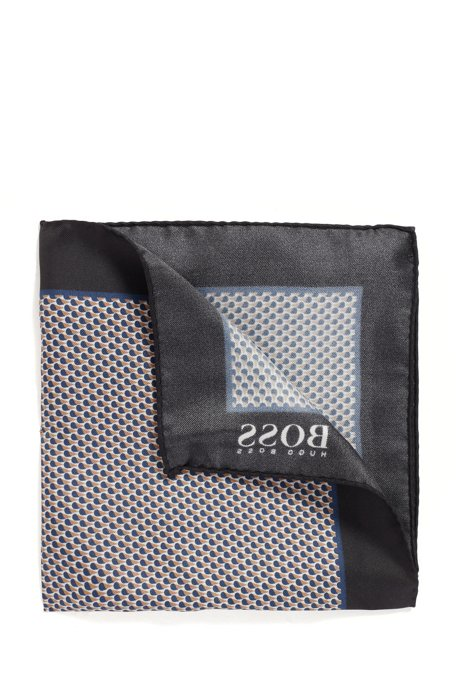 Italian-made patterned pocket square in pure silk, Black