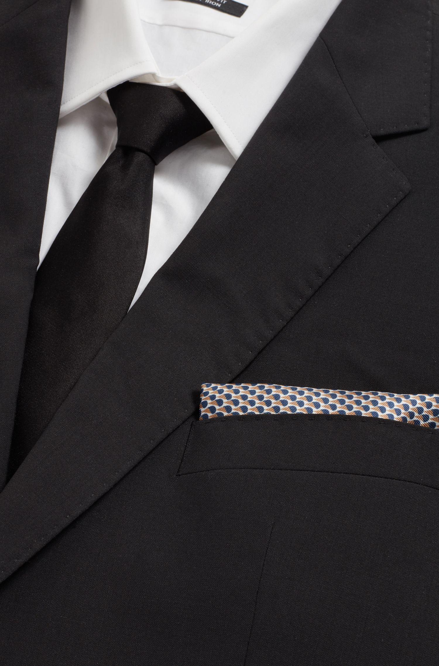 In Italië vervaardigde pochet van zuivere zijde met dessin, Zwart