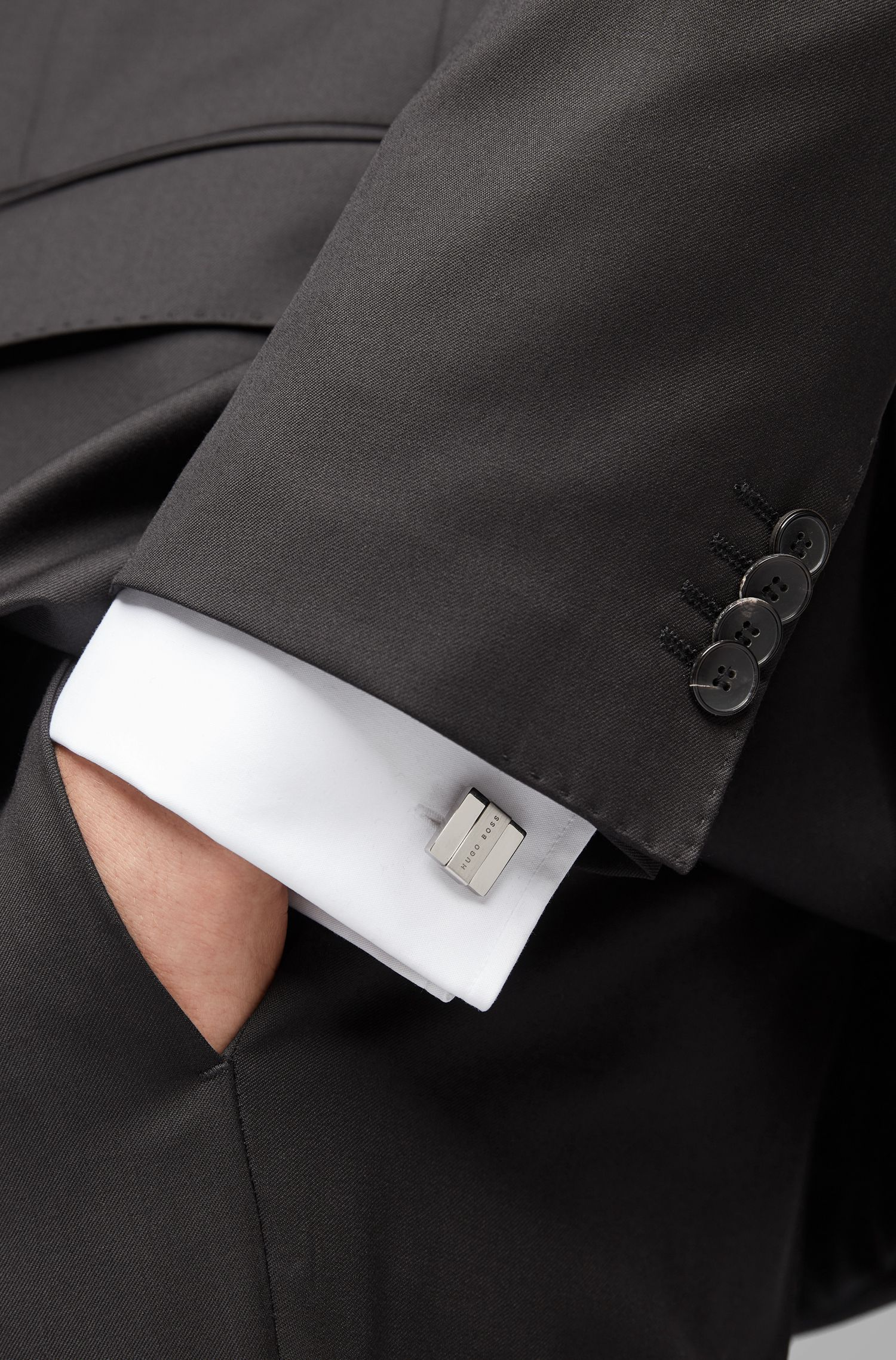 Hand-polished square cufflinks with brushed-metal logo plate, Silver