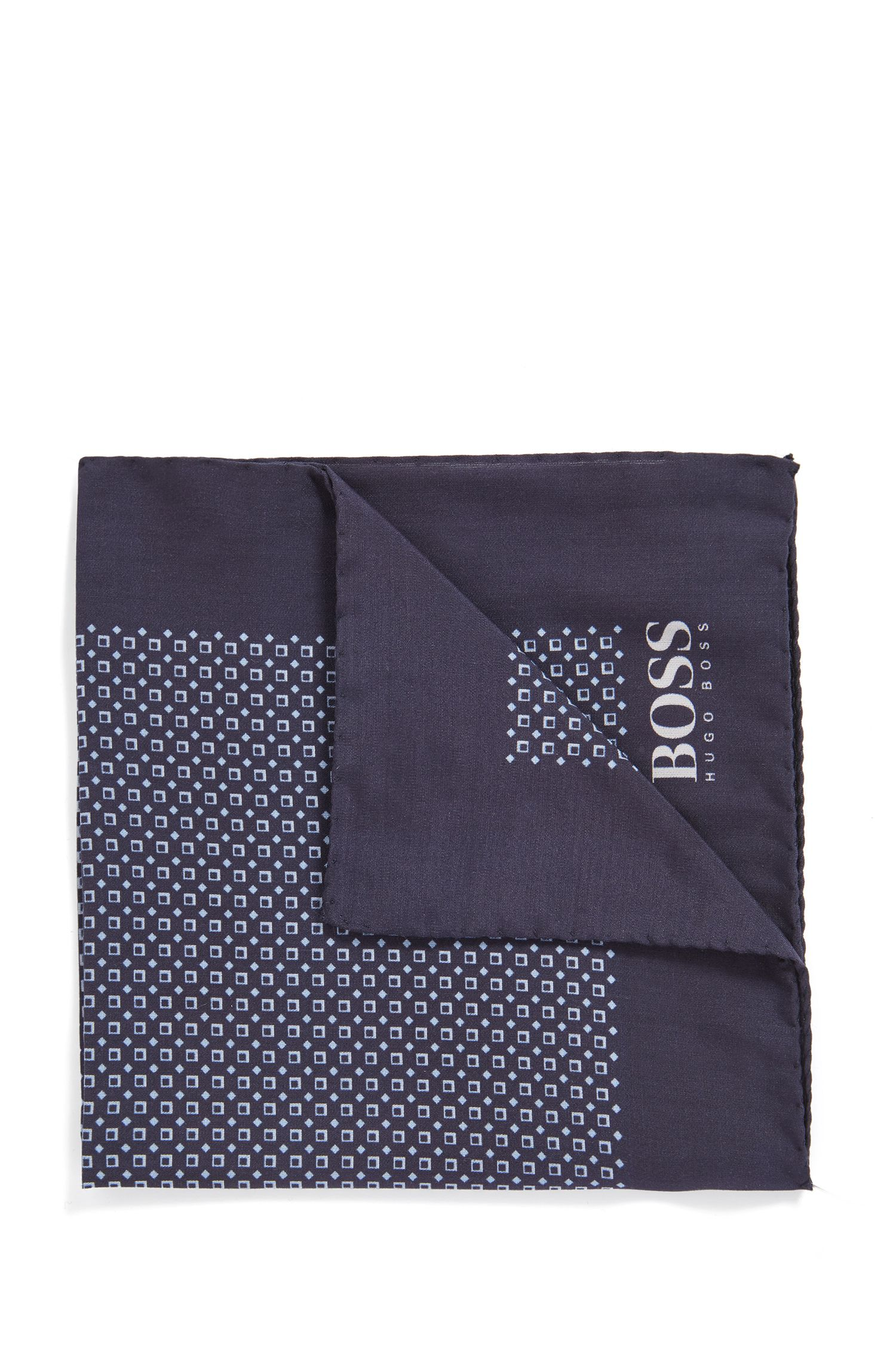 Italian-made patterned pocket square with rolled hem, Dark Blue