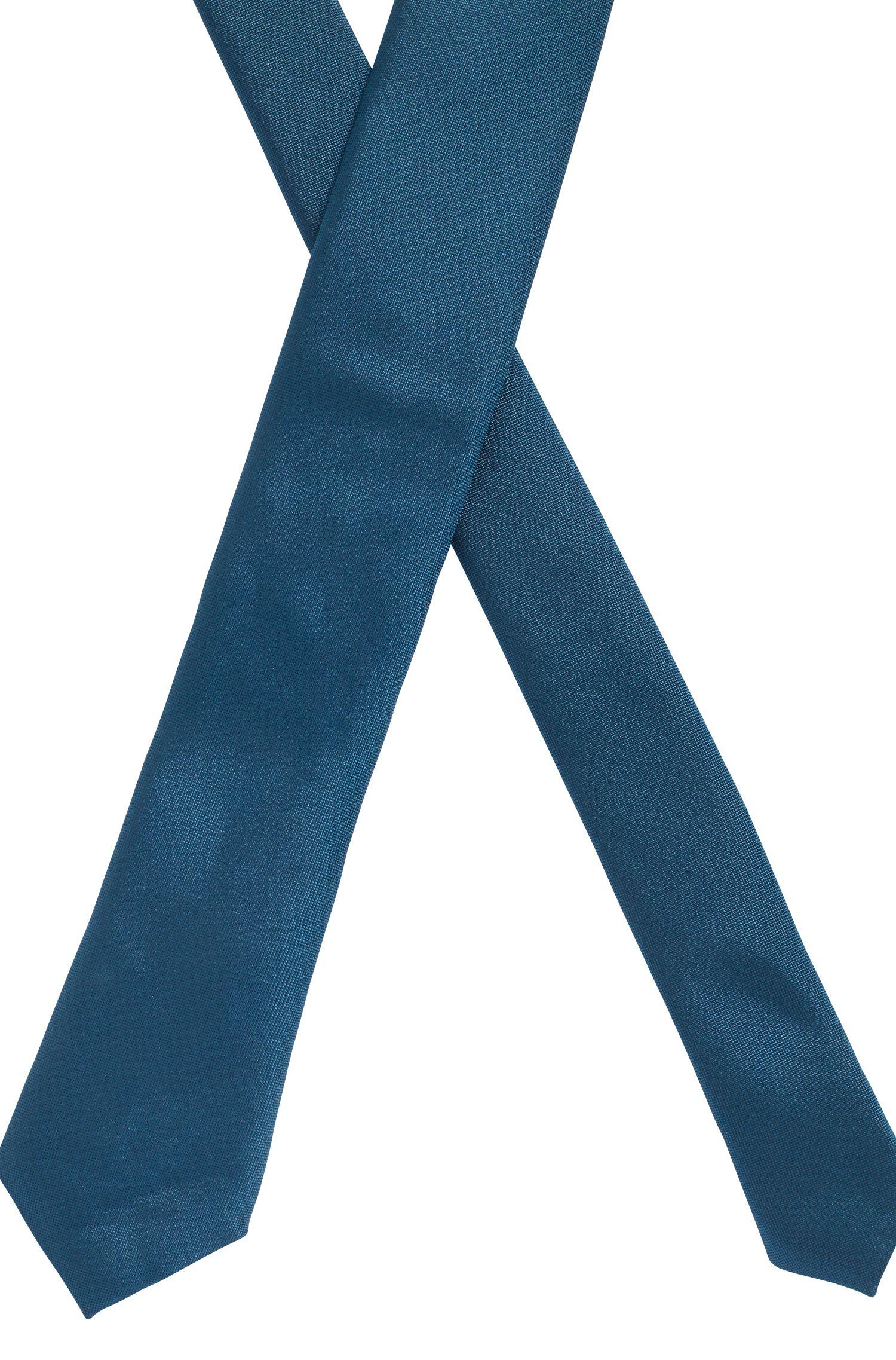 In Italien gefertigte Krawatte aus Seiden-Jacquard mit charakteristischem Detail, Blau