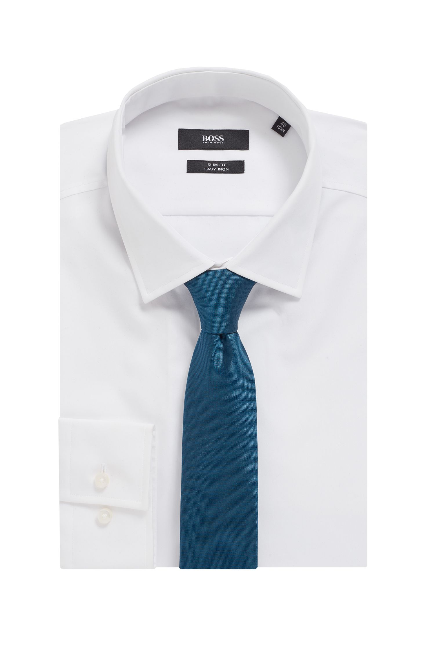 Italian-made tie in silk jacquard with signature detail, Blue