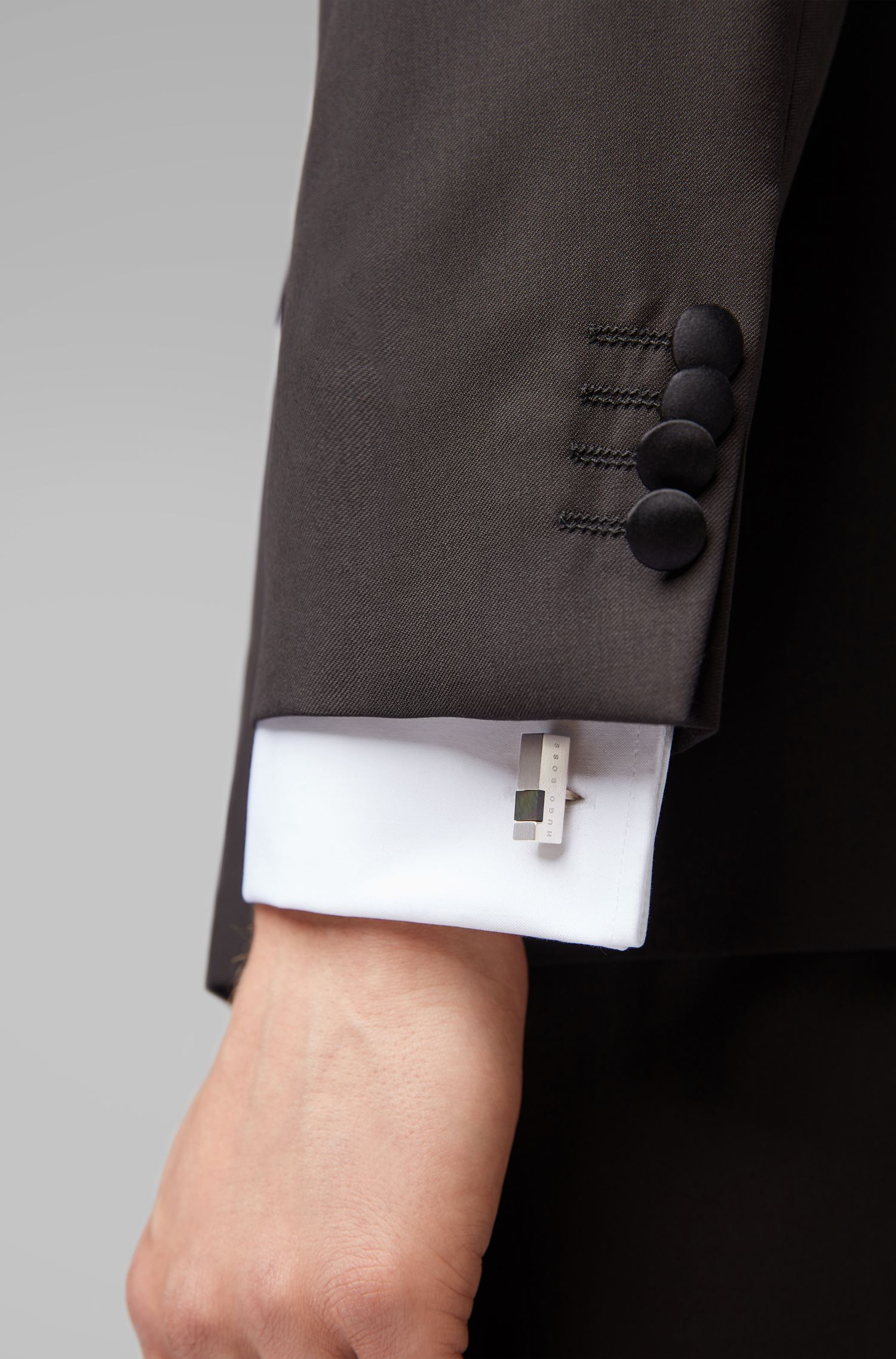 Bar-shaped logo cufflinks with mother-of-pearl insert, Dark Grey