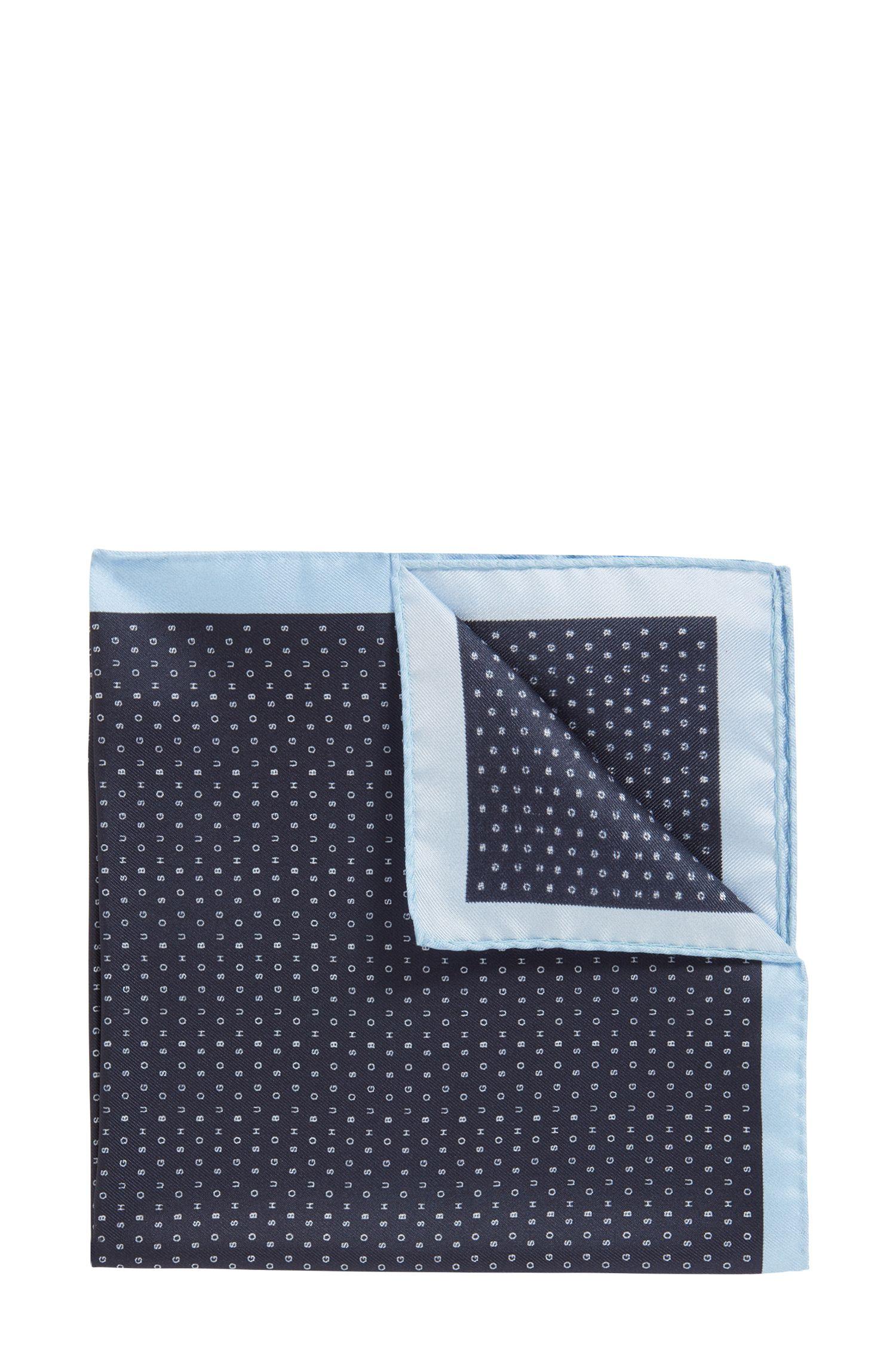 In Italië vervaardigde pochet van zijde met logodessin, Donkerblauw