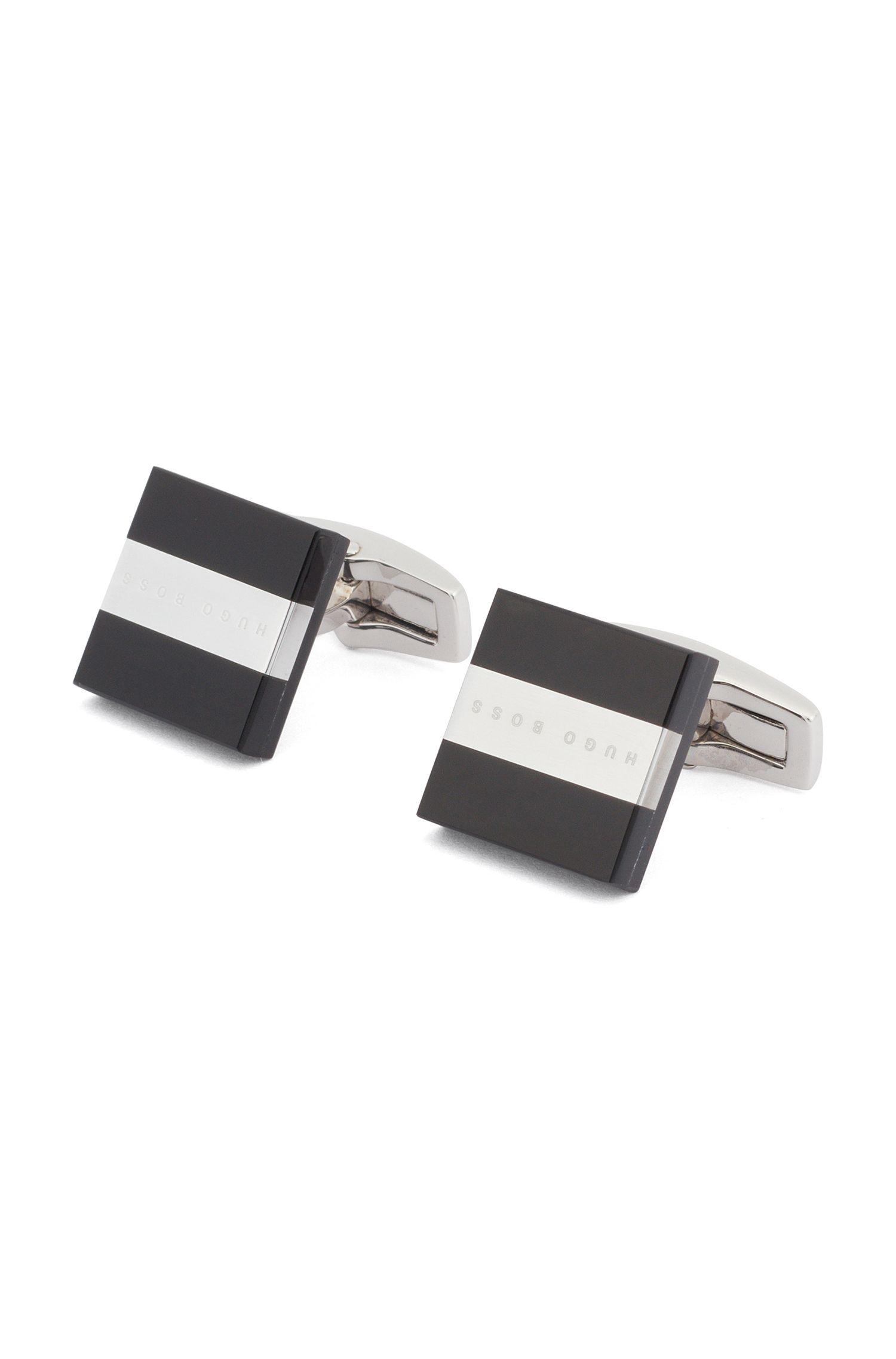 Boutons de manchette en fibre de verre avec bande logotée en métal, Noir