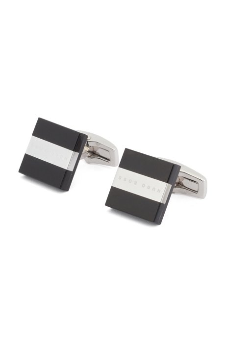 Square cufflinks in fibreglass with metal logo stripe, Black