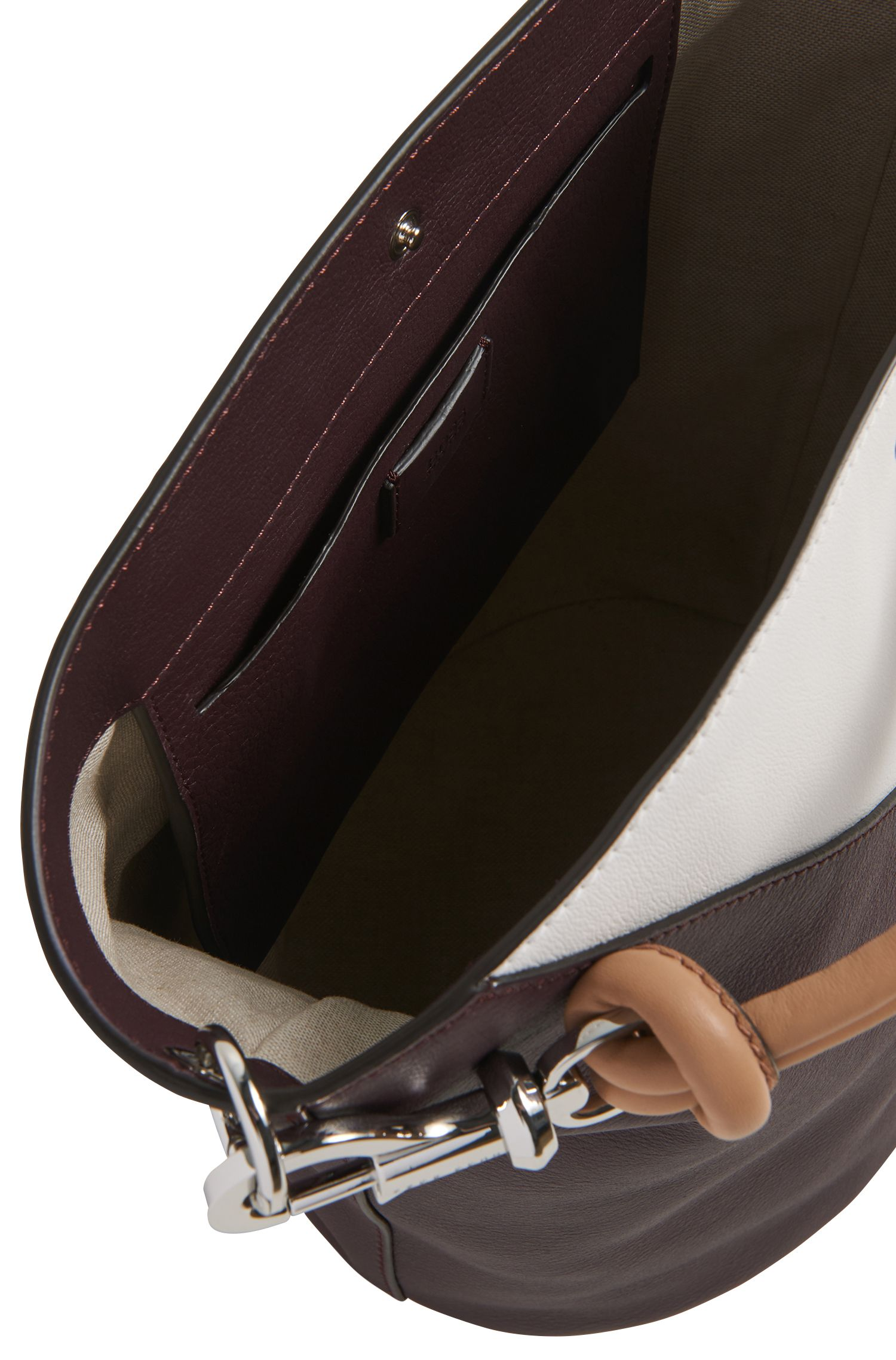 Colourblock bucket bag in soft leather, Dunkelrot