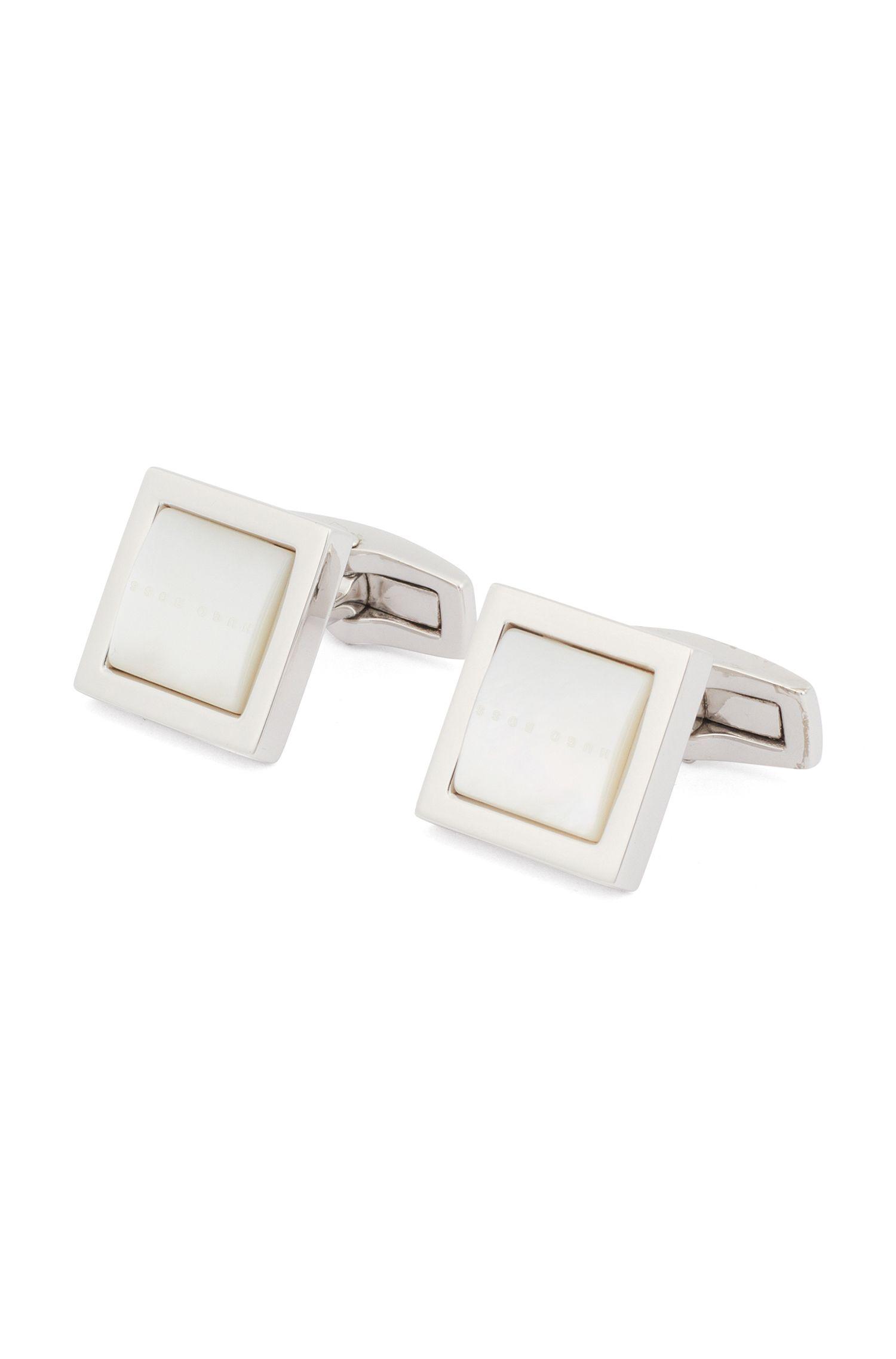 Gemelos cuadrados con aplique abovedado de nácar, Blanco