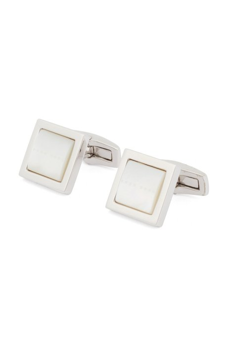 Square cufflinks with domed mother-of-pearl insert, White