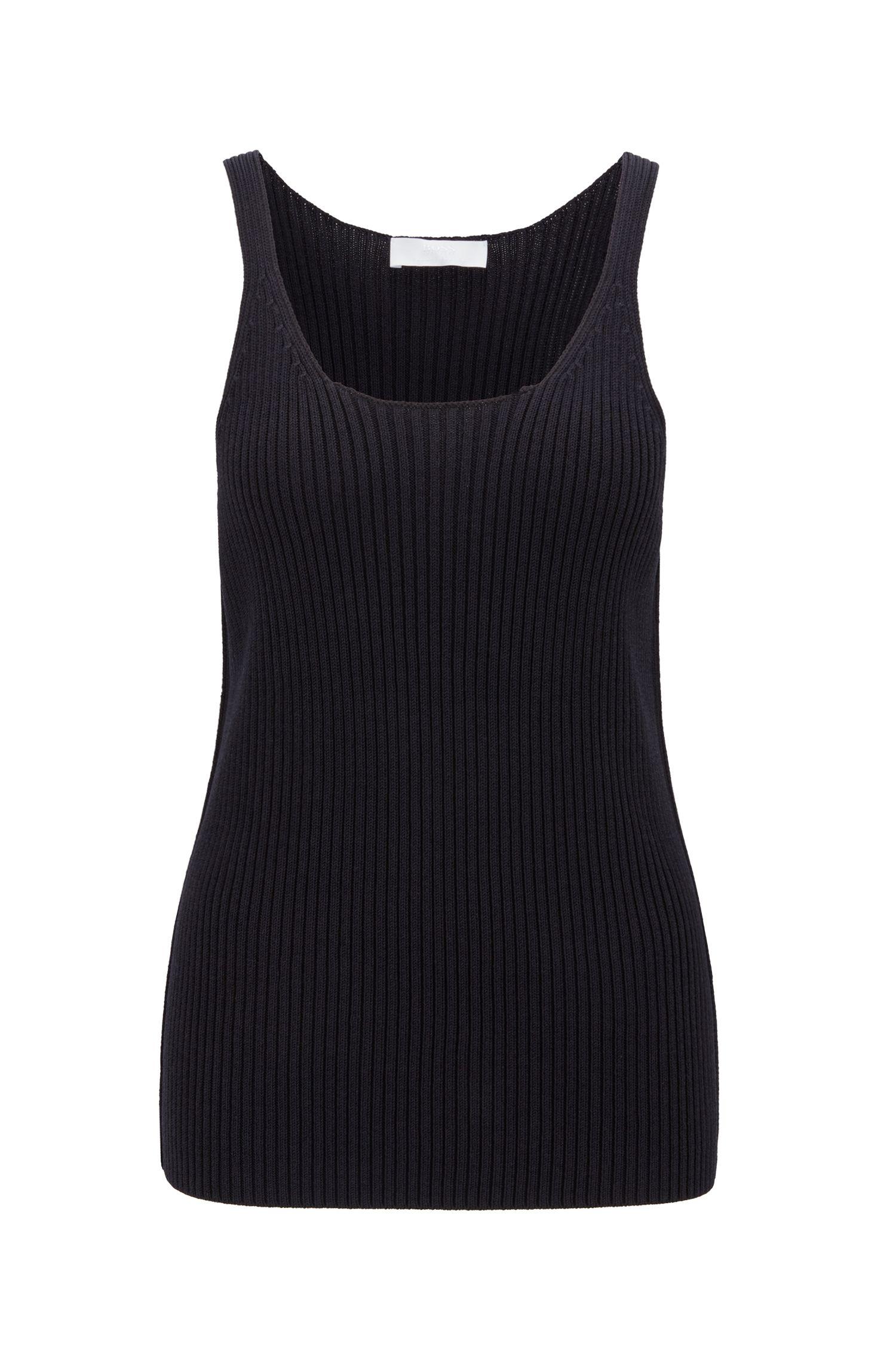 Slim-fit mouwloze top uit de Fashion Show, van gebreid materiaal, Donkerblauw