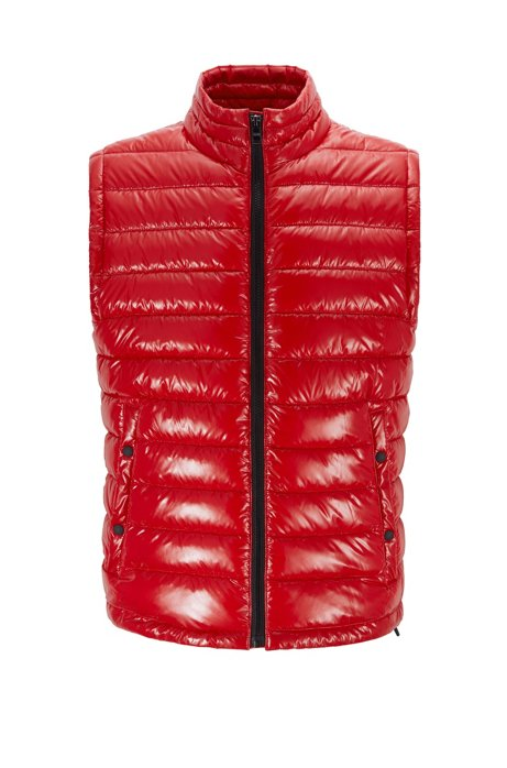 Water-repellent padded gilet with stand collar, Red