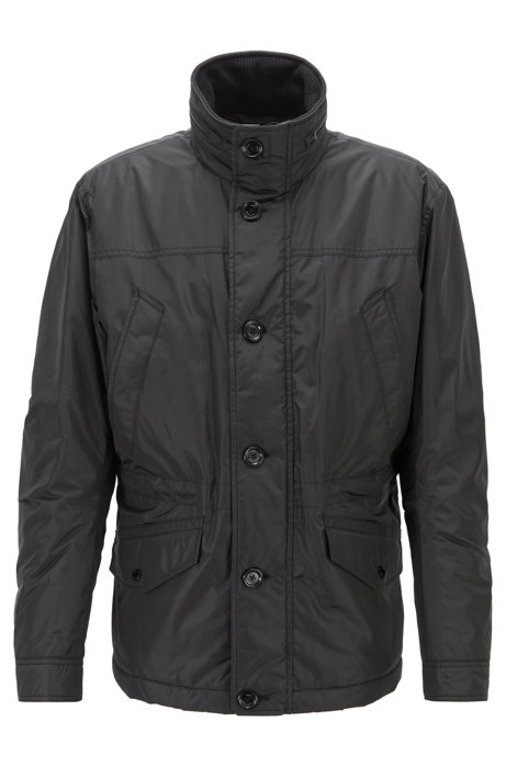 Water-repellent quilted field jacket with packable hood, Black