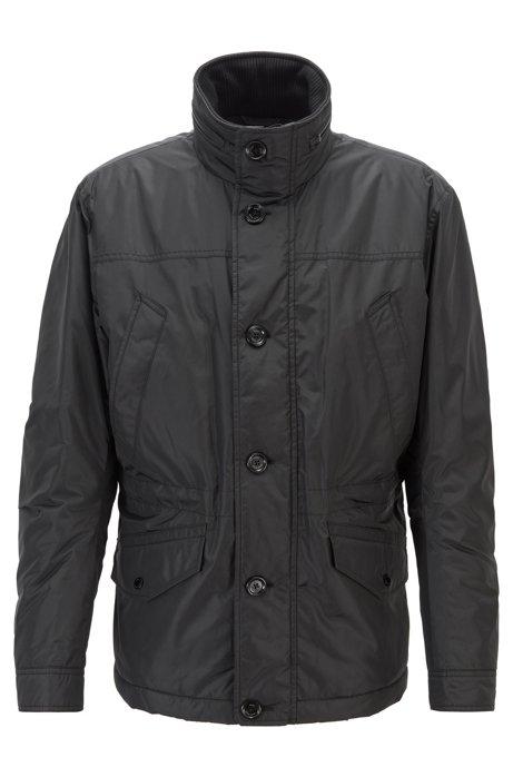 Field jacket trapuntata e idrorepellente con cappuccio ripiegabile, Nero