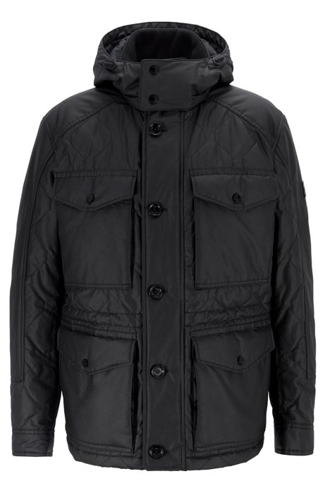 Water-repellent field jacket with quilting and detachable hood, Black