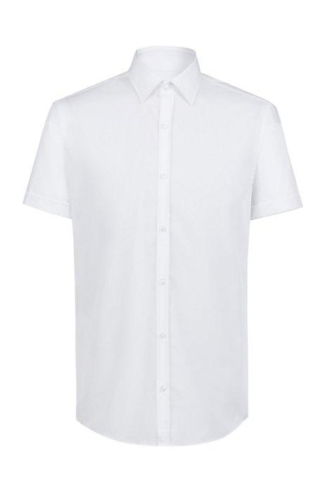 Slim-Fit Hemd aus Baumwolle mit kurzen Ärmeln, Weiß