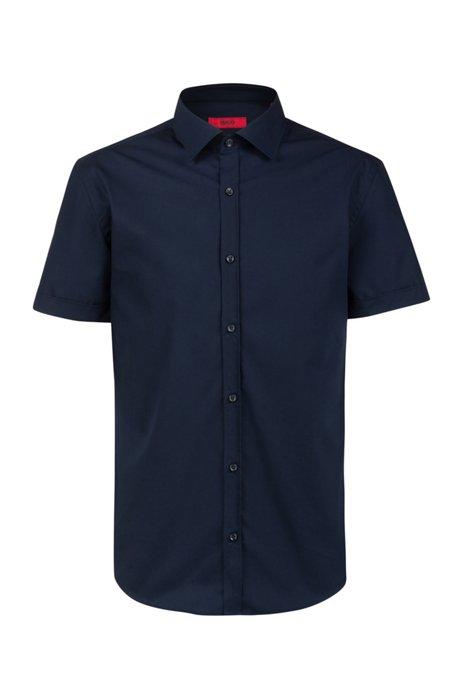 Slim-fit shirt in cotton poplin with short sleeves, Dark Blue