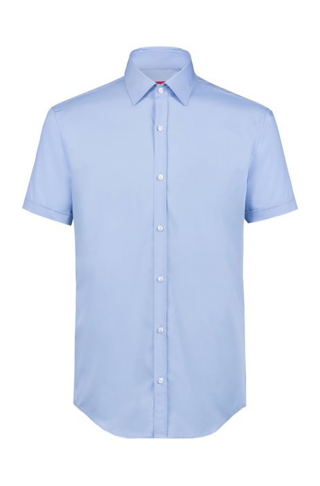 Slim-Fit Hemd aus Baumwolle mit kurzen Ärmeln, Hellblau