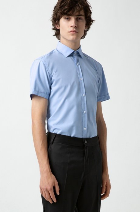 Slim-fit shirt in cotton poplin with short sleeves, Light Blue