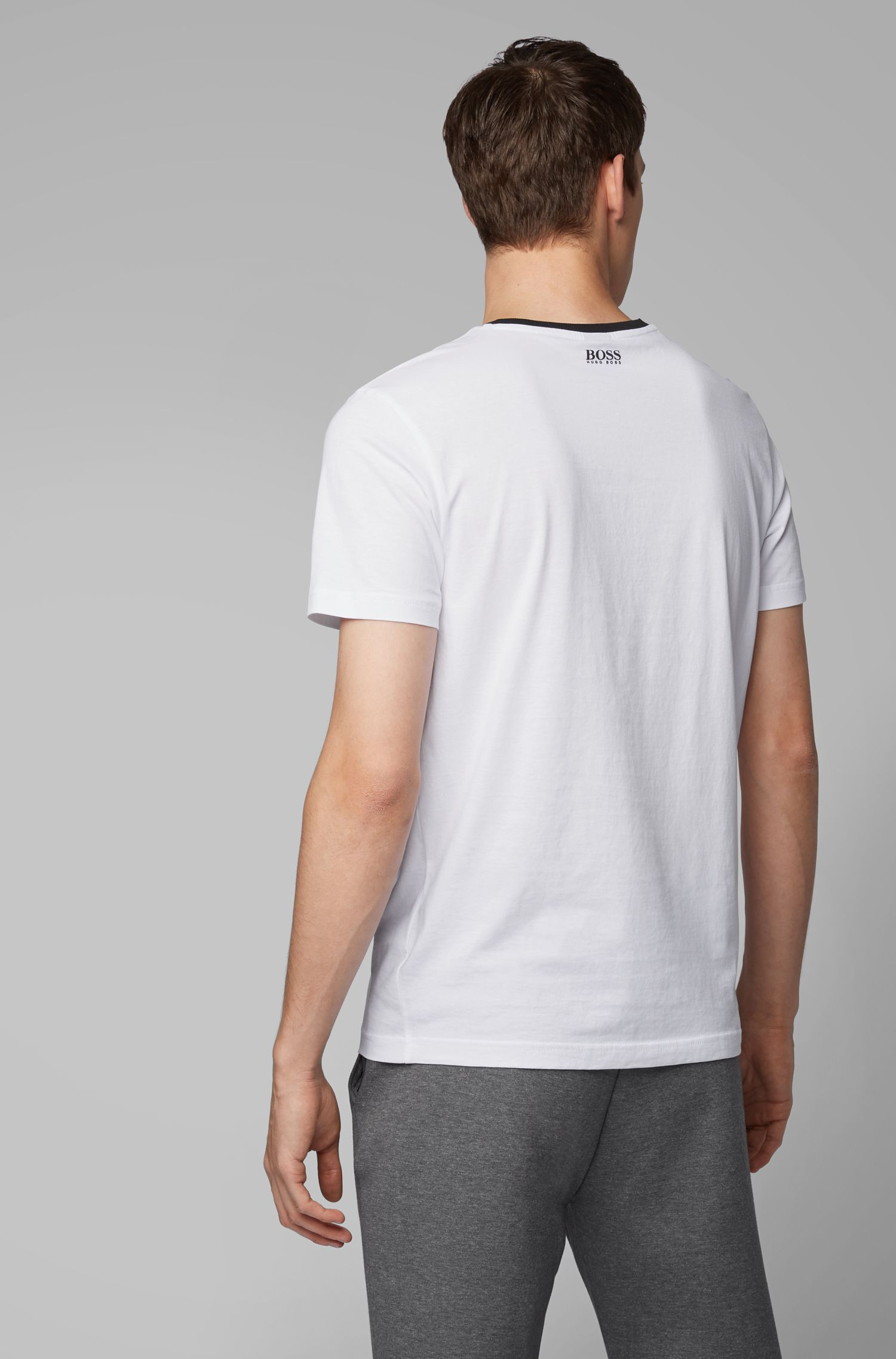 Crew-neck T-shirt with embroidered-effect curved logo, White