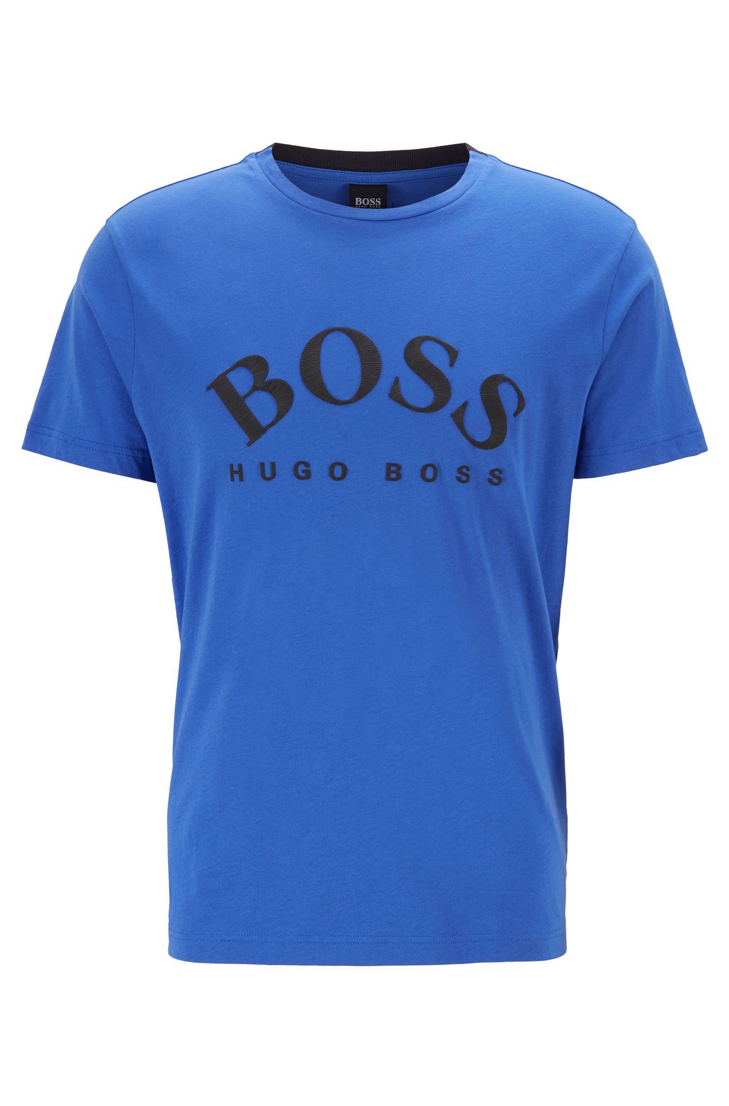 T-Shirt mit Rundhalsausschnitt und geschwungenem Logo in Stickerei-Optik, Blau