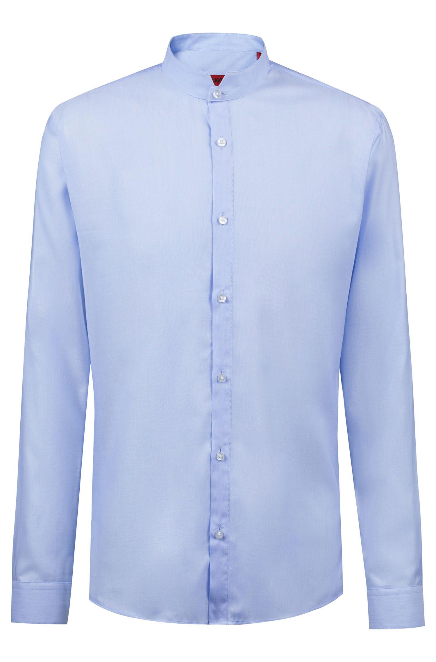 Camicia extra slim fit con colletto rialzato, Celeste