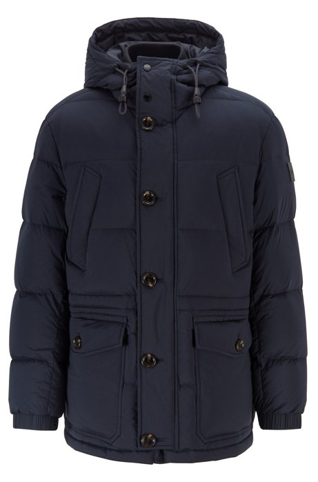Regular-fit jacket with knitted inner collar, Dark Blue