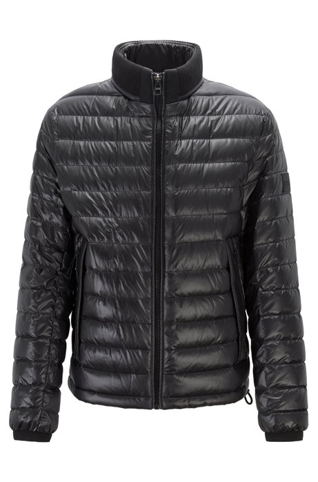 Regular-fit water-repellent jacket with stand collar, Black