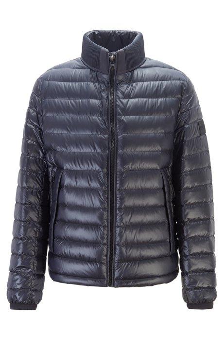 Wasserabweisende Regular-Fit Jacke mit Stehkragen, Dunkelblau