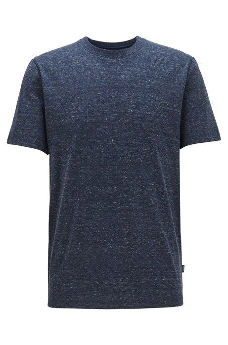 Crew-neck T-shirt in mouliné single-jersey cotton, Dark Blue